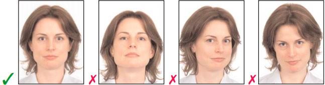 Примеры правильного и неправильного фото на визу.