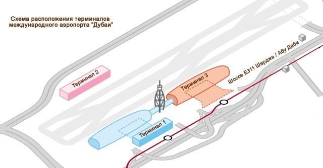 Схема аэропорта Дубаи.