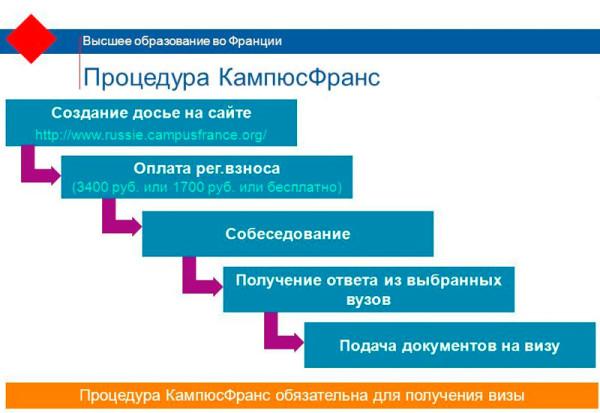 Этапы процедуры КампюсФранс