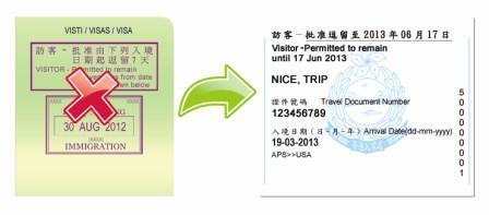 наклейка Гонконга в загранпаспорте