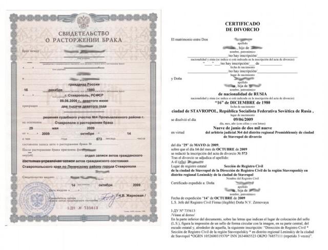 Свидетельство о разводе и перевод на испанский.