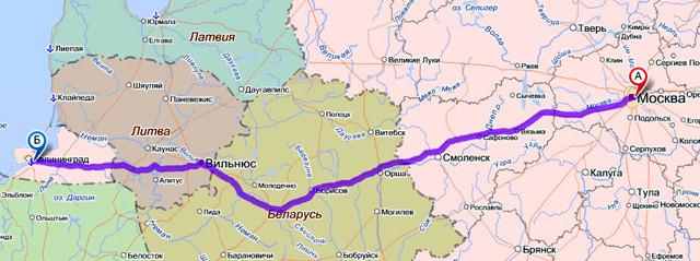Карта маршрута Москва-Калининград