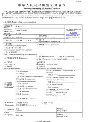 Бланк анкеты для получения визы