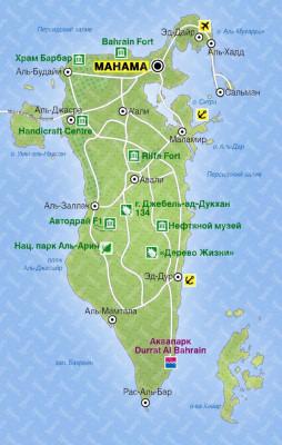 Карта Королевства Бахрейн
