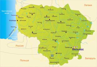Литва на карте