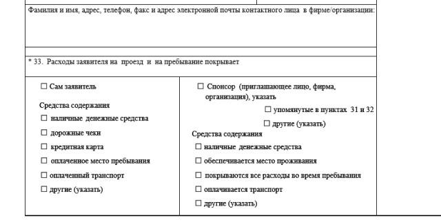 Часть анкеты с данными о доходах