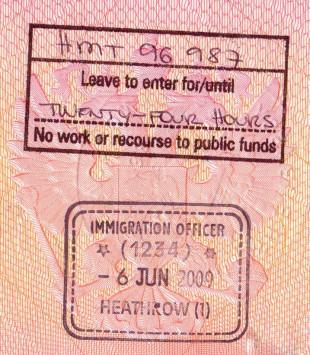Штамп транзитной визы