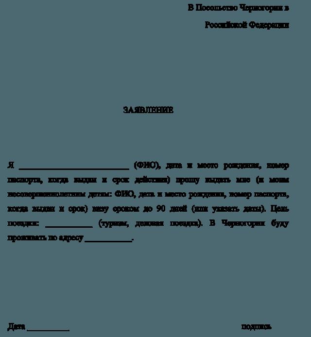Заявление о выдаче визового разрешения