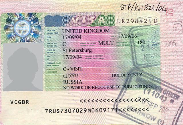 Бланк туристического визового разрешения