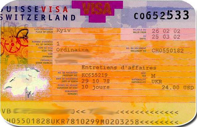 Бланк швейцарского визового разрешения