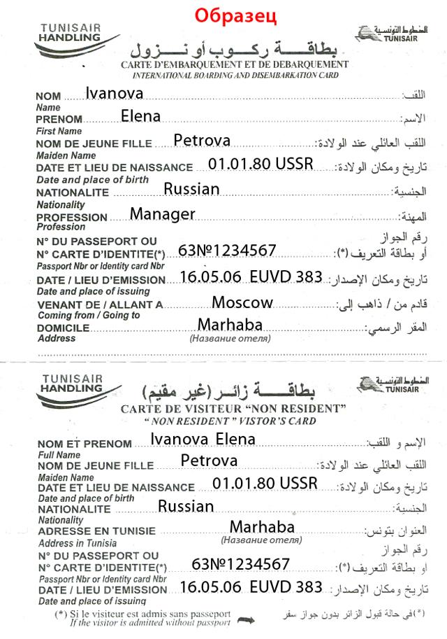 образец заполнения визы в тунис для россиян в 2016 году - фото 2