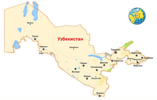 Республика Узбекистан на карте