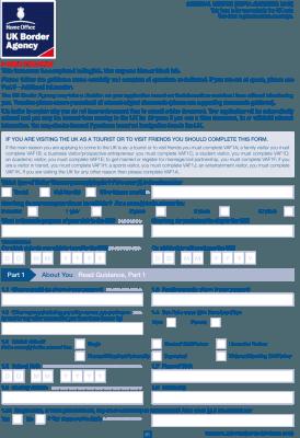 Визовая анкета в Великобританию