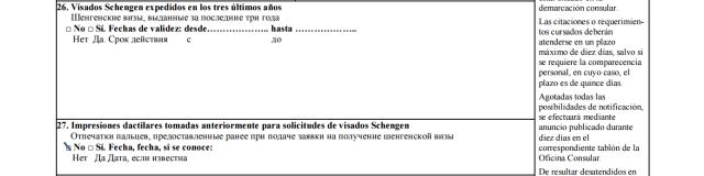 Часть анкеты с данными о предыдущих разрешения