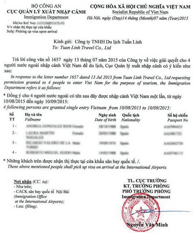 шар, Образец визового приглашения во вьетнам немыслимым, выходящим