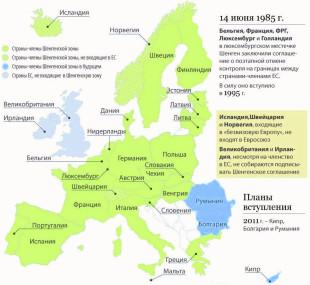 Страны входящие и не входящие в Шенгенскую зону