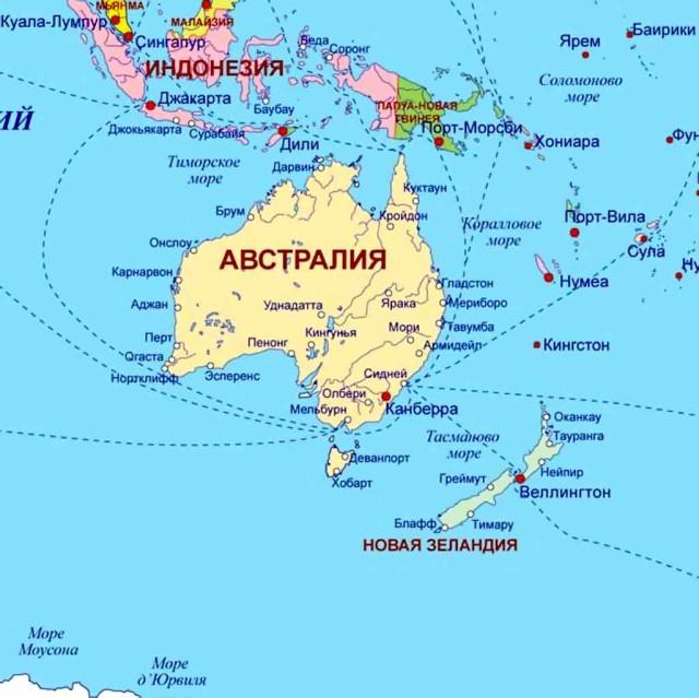 Австралия и Океания на карте
