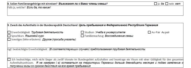 Часть анкеты с указанием цели пребывания