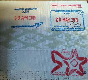 Штампы Мальдив в паспорте