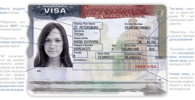 Визовое разрешение в США с пояснениями