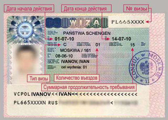 Стикер визового разрешения