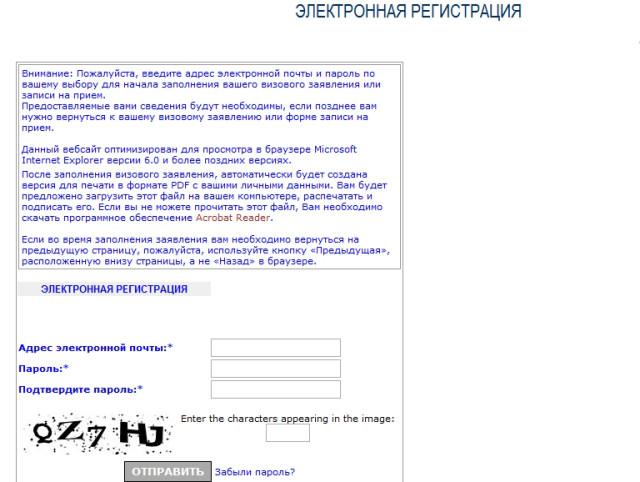 Страница электронной регистрации туриста