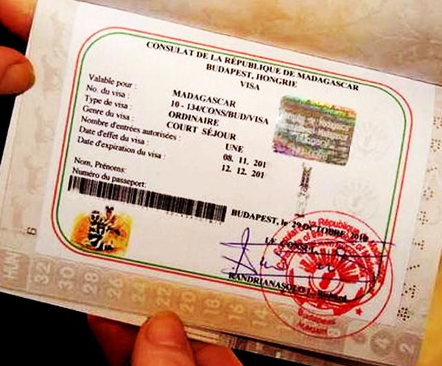Стикер визового разрешения в паспорте