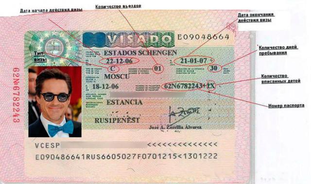 Бланк туристического визового документа