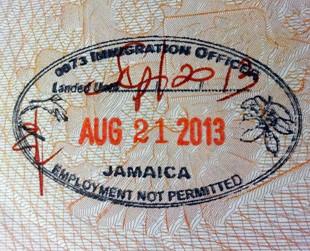 Визовый штамп Ямайки