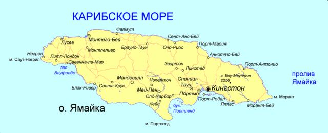 Остров Ямайка на карте