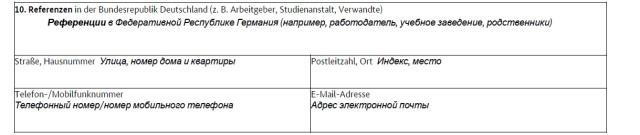 Часть анкеты с адресом жениха