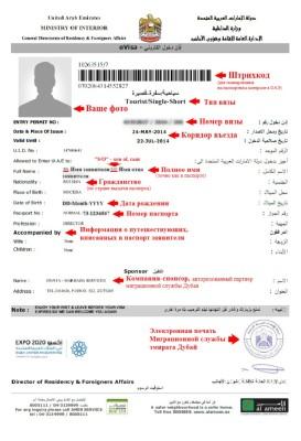 Бланк электронной визы