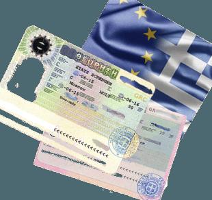 Виза и флаг Греции
