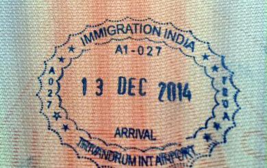 Индийский визовый штамп