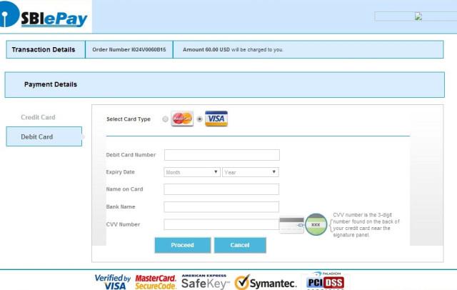 Страница оплаты за визовый документ