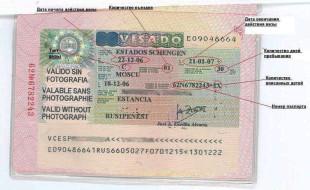 Бланк испанского визового разрешения