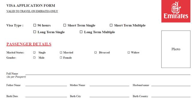 Часть анкеты с личными данными туриста