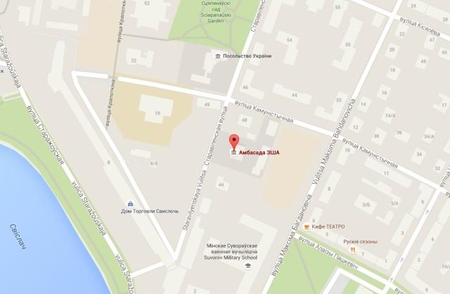 Посольство Америки в Минске на карте