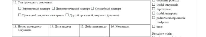 Часть визовой анкеты с данными о загранпаспорте