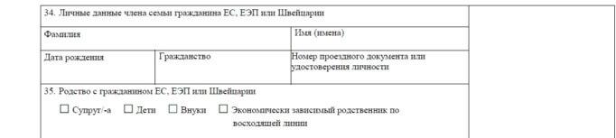 Часть визовой анкеты с личными данными данными