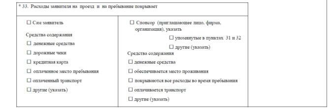 Часть визовой анкеты с данными о расходах на поездку