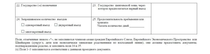 Часть визовой анкеты с данными о стране пребывания