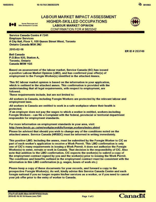Разрешение на работу в Канаде