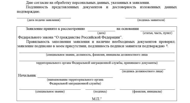 Часть заявления с согласием на обработку данных
