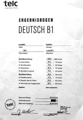 Сертификат о знании немецкого языка