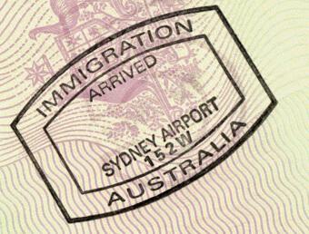 Въездной австралийский штамп