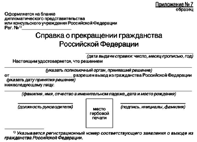 Справка о прекращении гражданства РФ