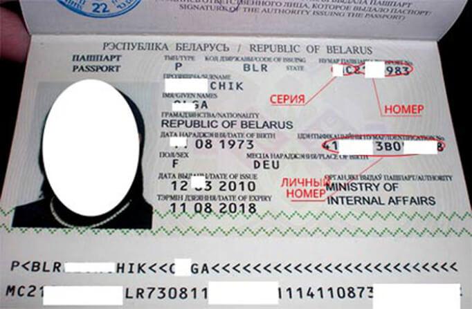 Белорусский паспорт внутри