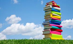 Стопка книг на газоне