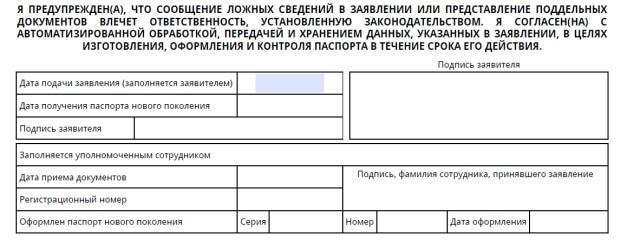 Часть заявления с подписью заявителя